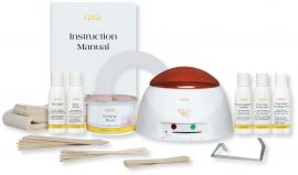 GiGi professional wax kit with manual, single pot warmer, creme Wax, applicators, strips, collars, pot handles, & lotions