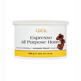 Front of GiGi Espresso All Purpose Honee 14 oz can of Soft Wax