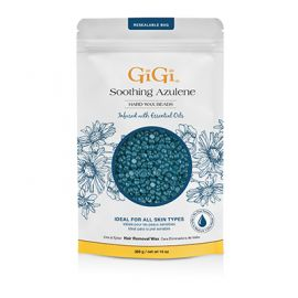 GiGi Soothing Azulene Hard Wax Beads In packaging.