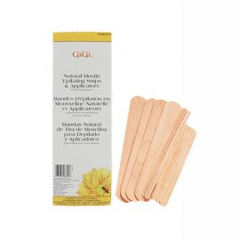GiGi Natural Muslin Epilating Strips & Applicators packaging and assorted sizes of applicators to the right.