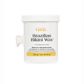 Front of GiGi Brazilian Bikini Wax Microwave formula 8oz tub.