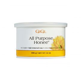 An eight ounce can of GiGi All Purpose Honee soft wax with the lid on.
