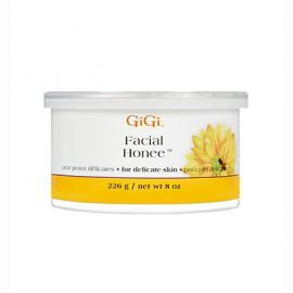 Front view of GiGi Facial Honee soft wax can 8oz size.